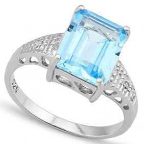 4.012 Ctw Blue Topaz & Genuine Diamond .925 Sterling Si