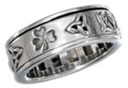 Sterling Silver Worry Ring With Irish Symbols Spinning