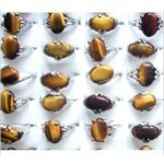 Silver Tone Rings Genuine Tiger&#39s Eye Cabochon Mixed