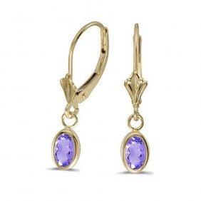 14k Yellow Gold .82 Ctw Tanzanite Earrings