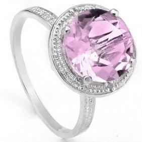 2.82 Ct Pink Amethyst & Genuine Diamond Platinum Plated