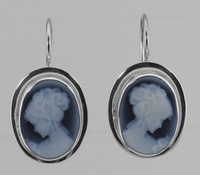 Oval Black Agate Dangle Cameo Earrings Made In Italy -