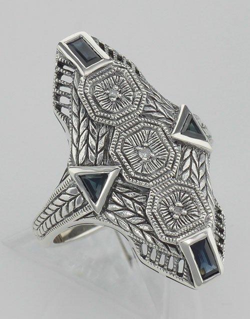 Art Deco Style Blue Sapphire Filigree Ring w/ 3 Diamond
