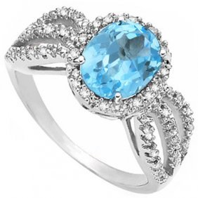 3.139 Ctw Blue Topaz & Genuine Diamond Platinum Plated