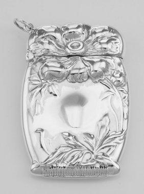 Art Nouveau Style Repousse Floral Match Safe Holder Ves