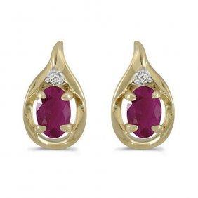 14k Yellow Gold 1.20 Ctw Ruby/diamond Earrings