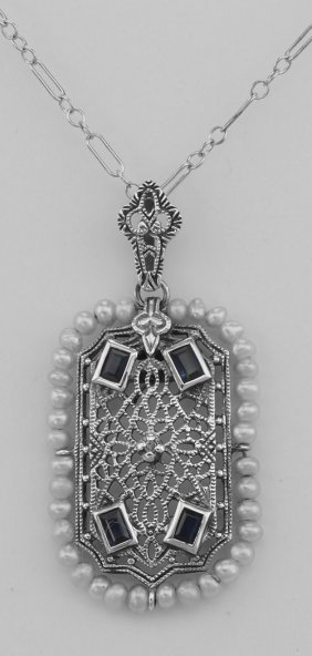 Genuine Pearl Blue Sapphire And Diamond Filigree Pendan