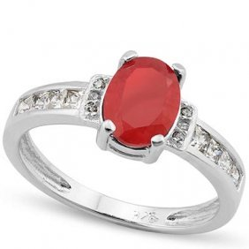 1.70 Ct Dyed Genuine Ruby & Genuine Diamond Platinum Pl