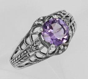 Art Deco Style Amethyst Filigree Ring With Four Diamond