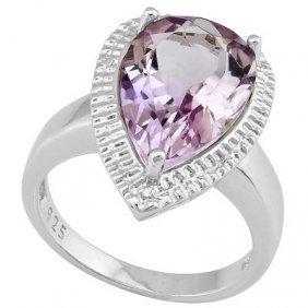 5.35 Ct Pink Amethyst & Genuine Diamond Platinum Plated