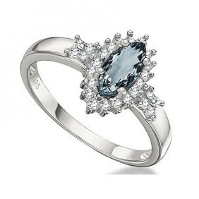 Aquamarine & Genuine (si) White Diamond .925 Sterling S