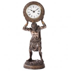 Atlas Clock Cold Cast Stone Statue
