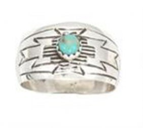 Stamped Domed Sterling Silver Ladies Ring