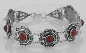 Antique Victorian Style Red Agate Filigree Bracelet - S