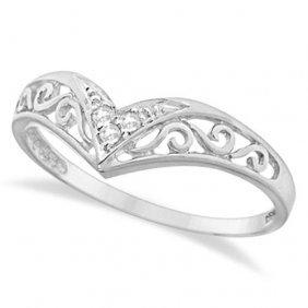 Antique Style Chevron Diamond Ring 14k White Gold (0.05