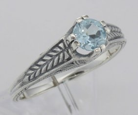 Beautiful Victorian Style Blue Topaz Solitare Filigree