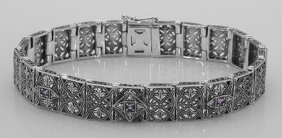 Victorian Style Amethyst And Diamond Filigree Link Brac