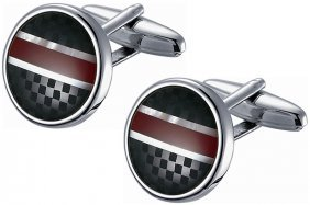 Round Black Checkered And Red Striped Stainless Steel C