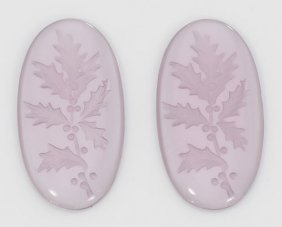32 Mm X 17 Mm Oval Floral Purple Intaglio Crystal (pack
