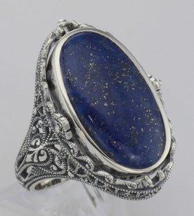 Antique Style Black Onyx And Lapis Filigree Flip Ring -