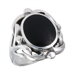Ring With Synthetic Black Onyx Sterling Silver Sizes 5-