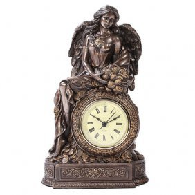 Lady Fortuna Clock Cold Cast Stone Statue