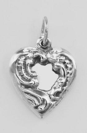Antique Border Design Heart Charm Or Pendant - Sterling
