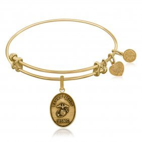 Expandable Bangle In Yellow Tone Brass With U.s. Marine