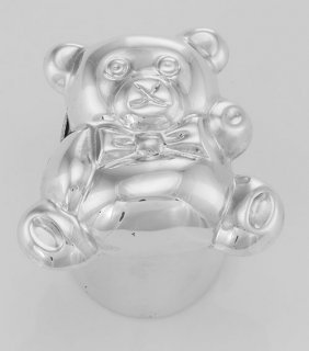 Cute Teddy Bear Sterling Silver Box For Baby