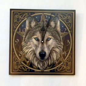 """Lisa Parker's Wolf Wall Clock 11 1/2 """" Square. Takes 1"""