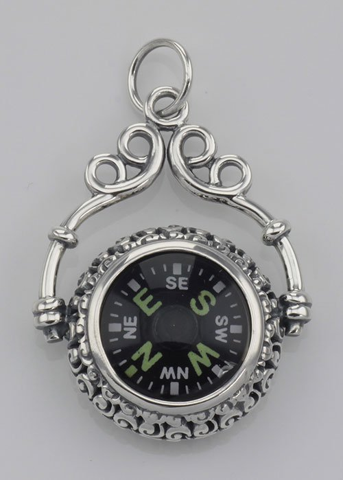 Victorian Style Compass Pendant with Scroll Frame in Fi
