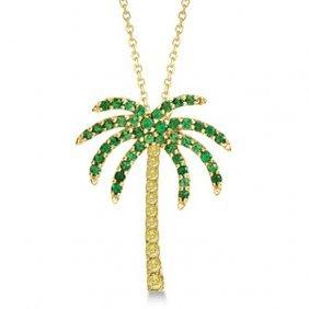 Tsavorite And Yellow Sapphire Palm Tree Necklace 14k Ye