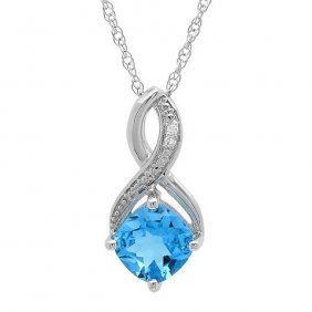 1.75 Ctw Swiss Blue Topaz/diamond Necklace In Sterling