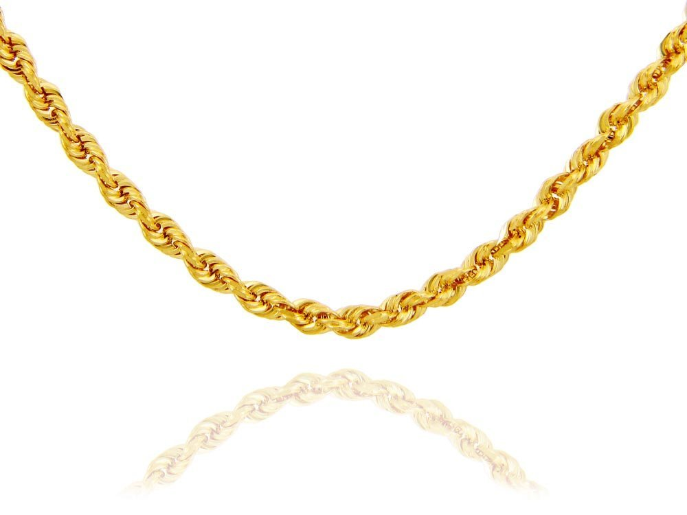 "Rope Solid 14K Gold Chain 4mm 20"" (25.54 GRAMS)"
