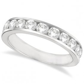 Channel-set Round Diamond Ring Band 14k White Gold (1.2