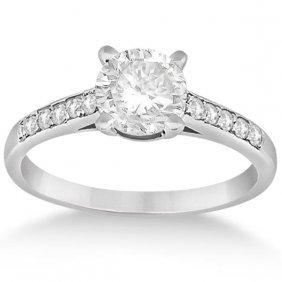 Cathedral Pave Diamond Engagement Ring Setting 18k Whit