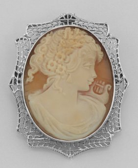 Victorian Style Italian Handcarved Cameo Pin Or Pendant