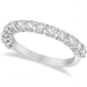 Half Eternity Round Cut Diamond Ring Band 14k White Gol