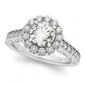 Diamond Halo Flower Engagement Ring In 14k White Gold (