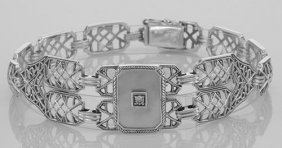 Victorian Style Mother Of Pearl Filigree Link Bracelet