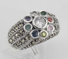 Beautiful Multi-stone Marcasite Ring - Sterling Silver