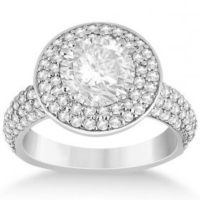Pave Diamond Double Halo Engagement Ring 18k White Gold