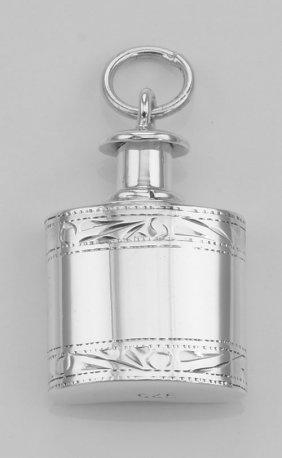 Mini Flask Perfume Bottle Pendant In Fine Sterling Silv