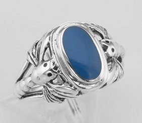 Unique Dragonfly Design Blue Agate Ring - Sterling Silv