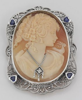 Victorian Style Hand Carved Italian Shell Cameo Diamond