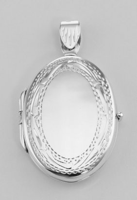 Oval Sterling Silver Locket With Border Design - Small