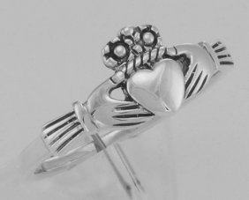 Cute Irish Claddagh Ring In Fine Sterling Silver