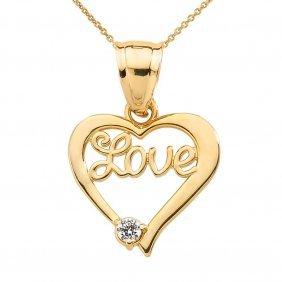 "10k Yellow Gold ""love"" Script Diamond Heart Pendant App"