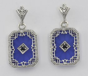 Filigree Blue Crystal / Sapphire Art Deco Earrings - St