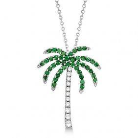 Tsavorite And Diamond Palm Tree Necklace 14k White Gold